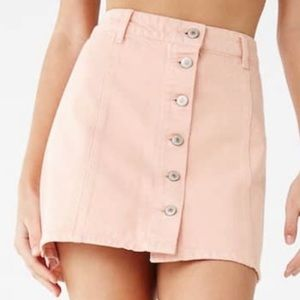 Forever 21 light pink corduroy button up skirt